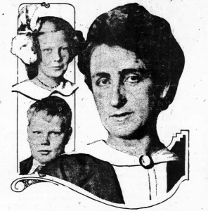 Jeanette Bates, with her adopted children, Katherine and Edward.