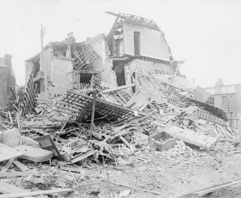 Photograph showing bomb damage to property in Streatham, London caused by the German Zeppelin raid on the night of 23 - 24 September 1916.