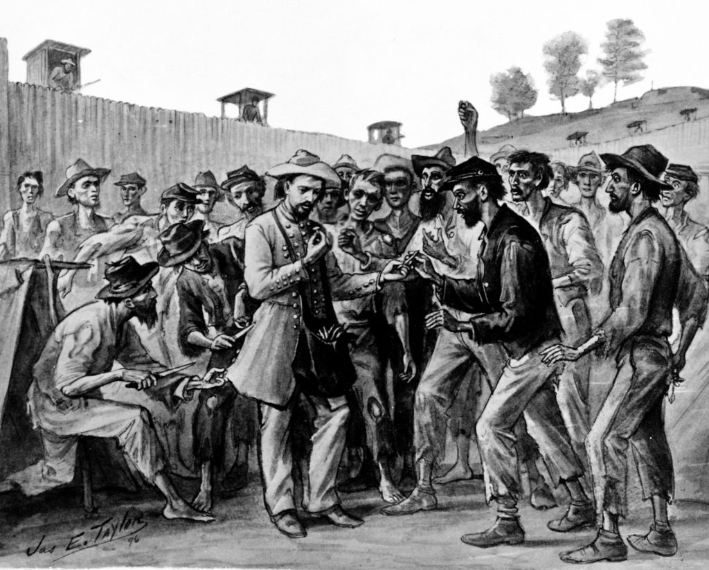 1896 drawing by James E. Taylor showing prisoners at Andersonville Prison surrounding a Confederate officer and exchanging a button for a pepper as other prisoners behind the officer cut buttons from his uniform.