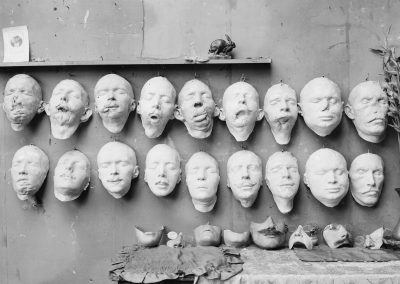 Masks showing different stages in the work done by Mrs. Anna Coleman Ladd of the A.R.C. for soldiers whose faces have been mutilated in the war.