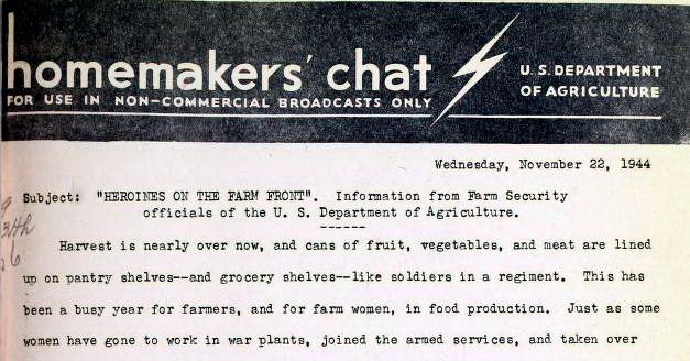 Heroines in the Farm Front in 1944 (A USDA Radio Script)